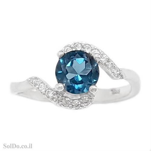 טבעת מכסף משובצת אבן טופז כחולה  וזרקונים RG6125   תכשיטי כסף 925   טבעות כסף