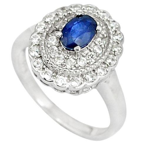 טבעת כסף משובצת אבן ספיר כחולה וזרקונים RG5608 | תכשיטי כסף 925 | טבעות כסף