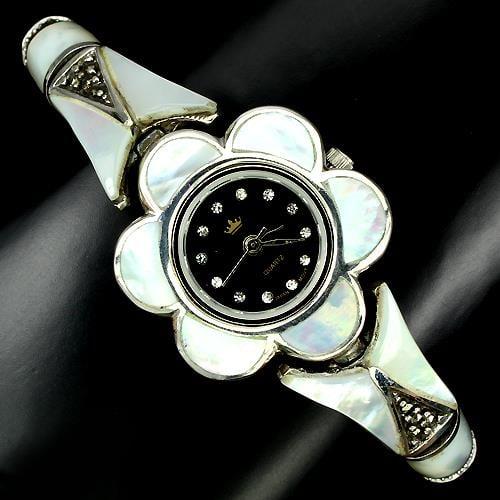 שעון כסף משובץ Marcasite וצדף לבן SH7511