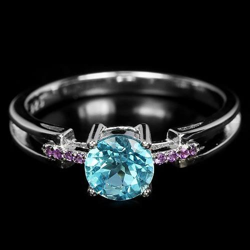 טבעת כסף משובצת טופז כחול וזרקונים סגולים RG7208   תכשיטי כסף 925   טבעות כסף