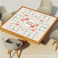מפת שולחן פיויסי דקורטיבית מרובעת ל-שולחנות מעוצבים