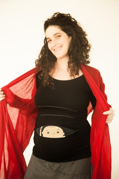 חולצת הריון תינוק מציץ מתוך רוכסן חולצת שרוול ארוך במחיר חולצה קצרה!