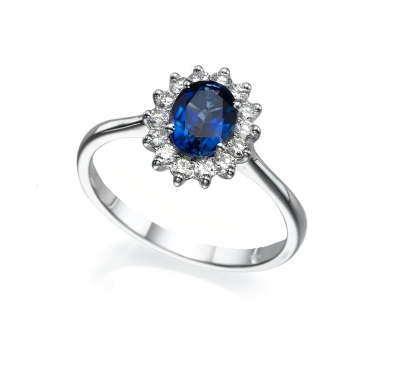טבעת ספיר כחול ויהלומים דגם דיאנה