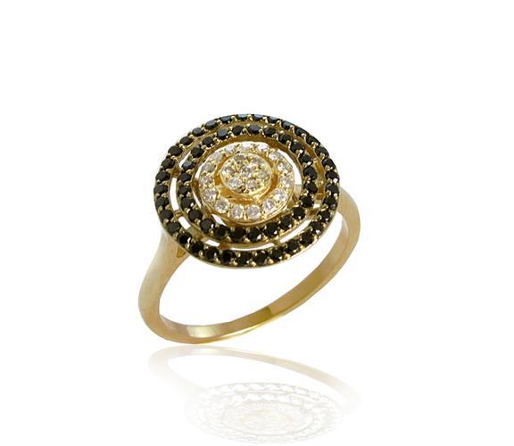 טבעת שמש עם יהלומים לבנים ושחורים בזהב 14 קראט