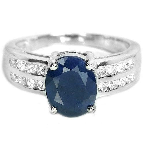 טבעת כסף משובצת אבן ספיר כחולה וזרקונים RG5699   תכשיטי כסף 925   טבעות כסף