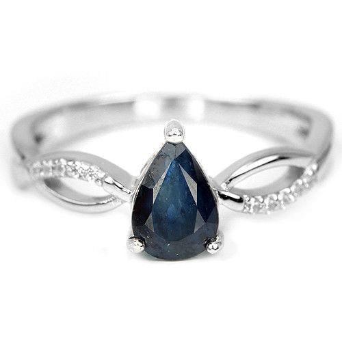 טבעת כסף משובצת ספיר כחול וזרקונים RG5635 | תכשיטי כסף 925 | טבעות כסף