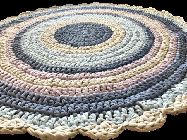 שטיחים סרוגים,שטיח סרוג, שטיח לחדר ילדים, שטיח עגול סרוג בטירקו, שטיח סרוג בצבעי יוניסקס לחדר משותף, שטיח סרוג בתכלת, וסגול לילך
