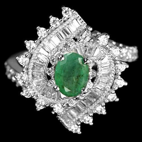טבעת כסף משובצת אבני אמרלד ואבני זרקון  RG8397 | תכשיטי כסף 925 | טבעות כסף