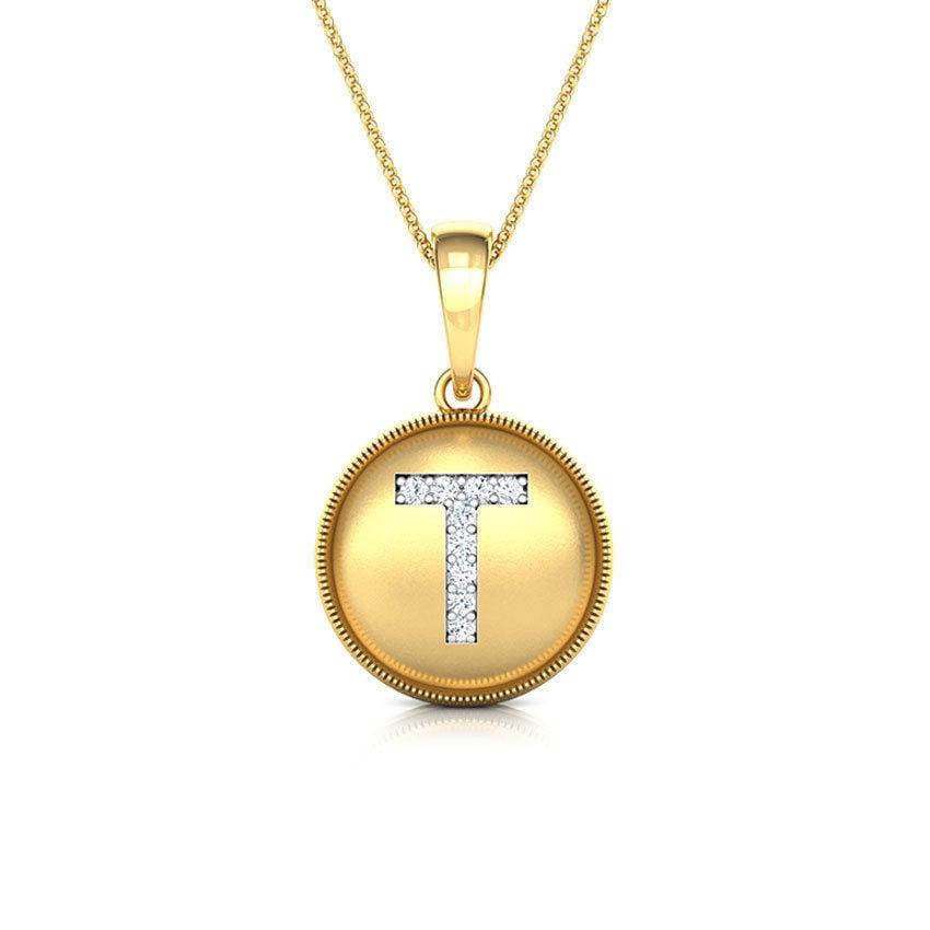 שרשרת אות T שרשרת זהב עם אות T משובצת יהלומים