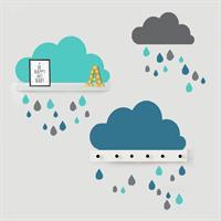 סט מדבקות 3 עננים (כחול, ירוק ואפור) כולל 30 טיפות גשם