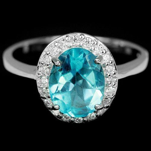 טבעת כסף משובצת טופז כחול וזרקונים RG8337 | תכשיטי כסף 925 | טבעות כסף