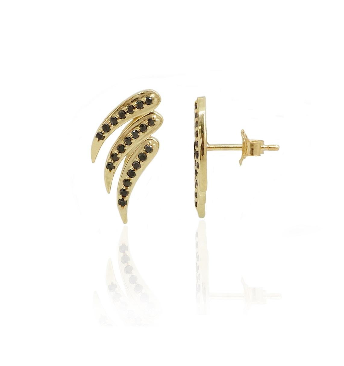 עגילי זהב כנפיים עם יהלומים שחורים 0.25 קראט