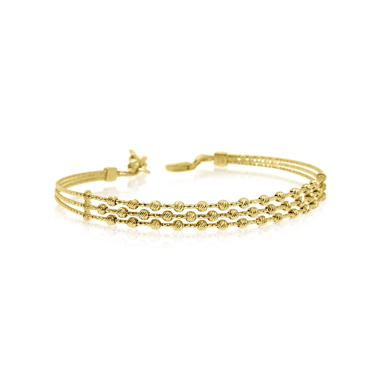 צמיד זהב כדורי לאישה צמיד קשיח עם שורות כדורים