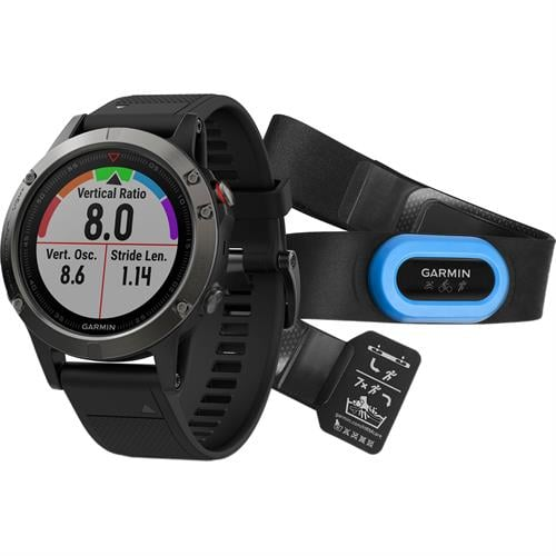 Garmin Fenix 5  Slate gray with black band Performer Bundleשעון דופק