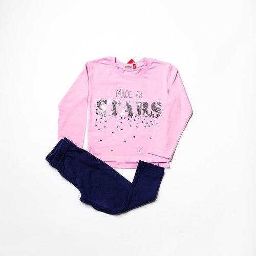 חליפת בנות לייקרה STARS  ורודה