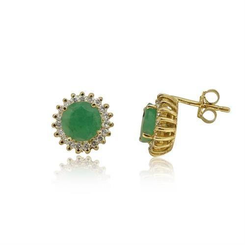 עגילי זהב צמודים 14 קרט משובצים אבני חן אמרלד ויהלומים