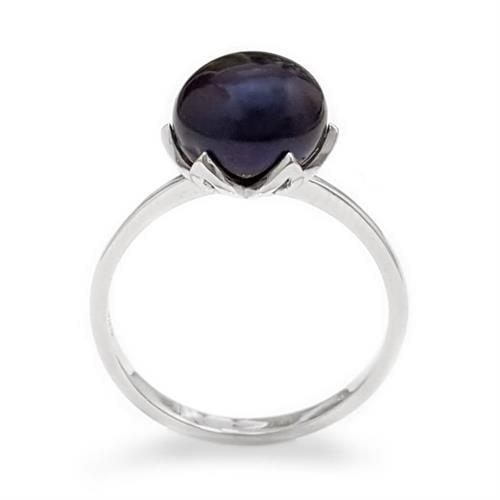 טבעת מכסף משובצת פנינה שחורה RG8562 | תכשיטי כסף 925 | טבעות עם פנינה