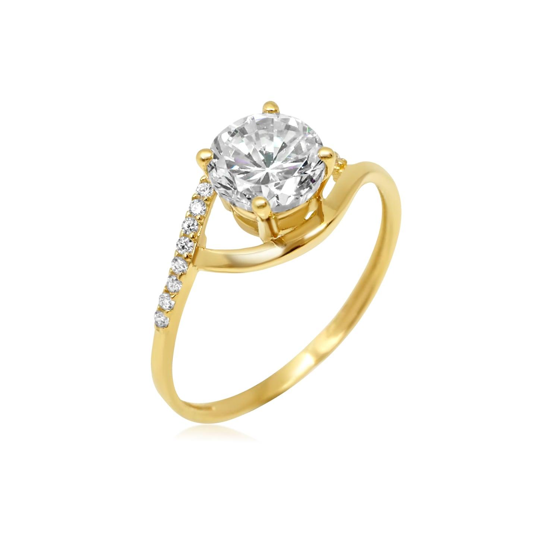 טבעת זהב עדינה משובצת זרקונים