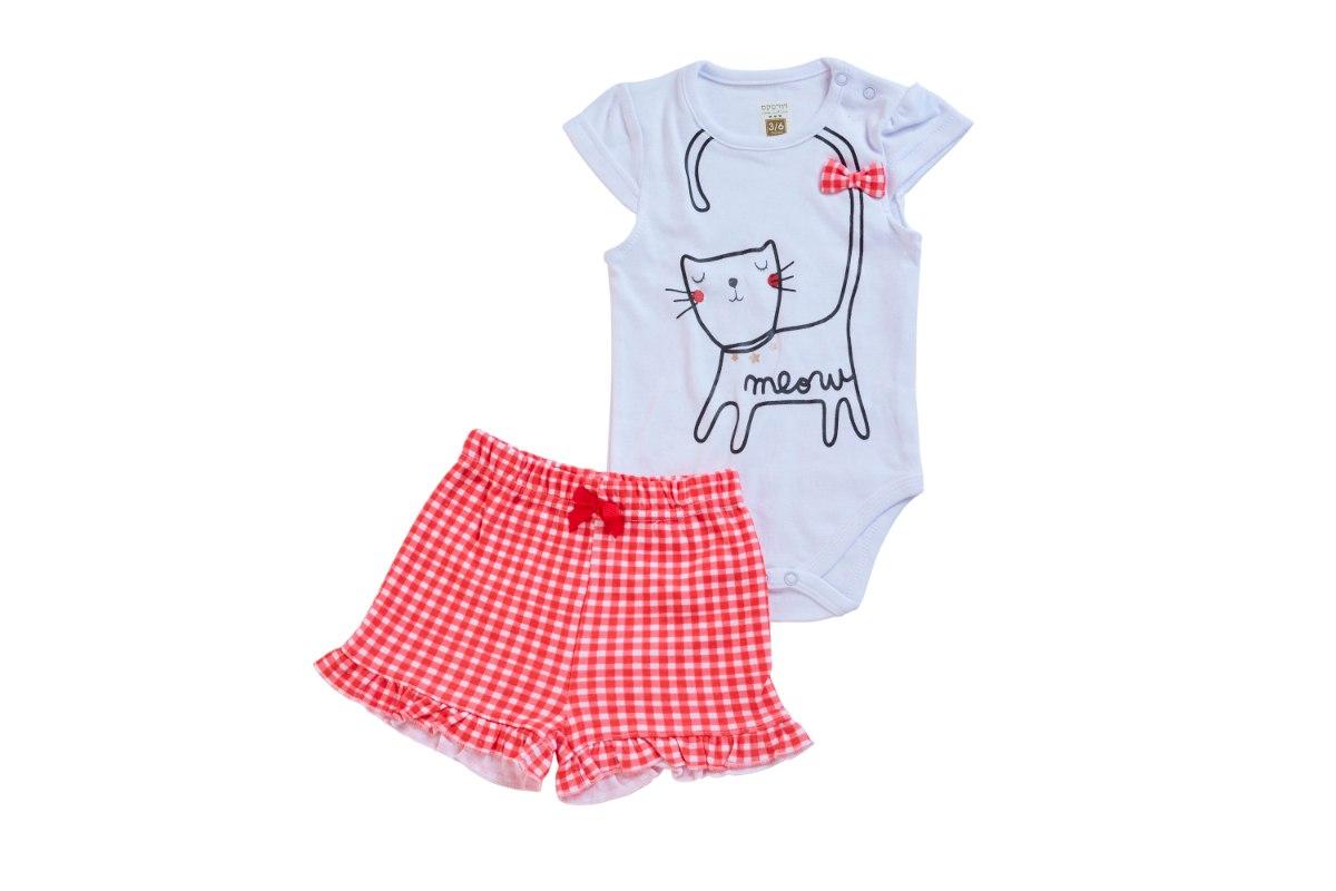 חליפת בגד גוף חתול לבן
