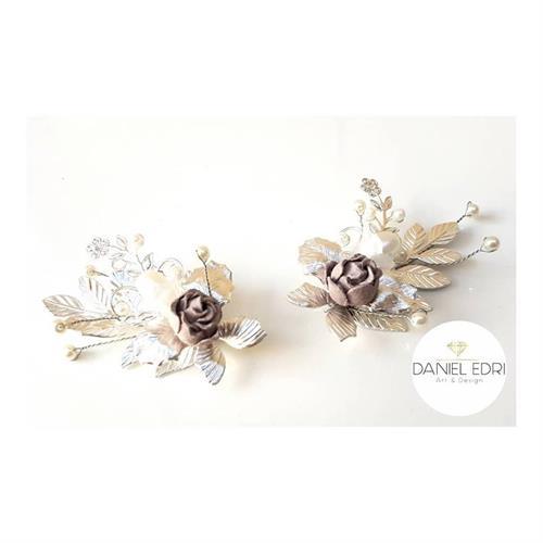 זוג סיכות עלים ופרחים- כסף ורוד