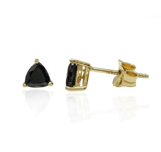 עגיל זהב עם יהלום שחור משולש 0.55 קראט