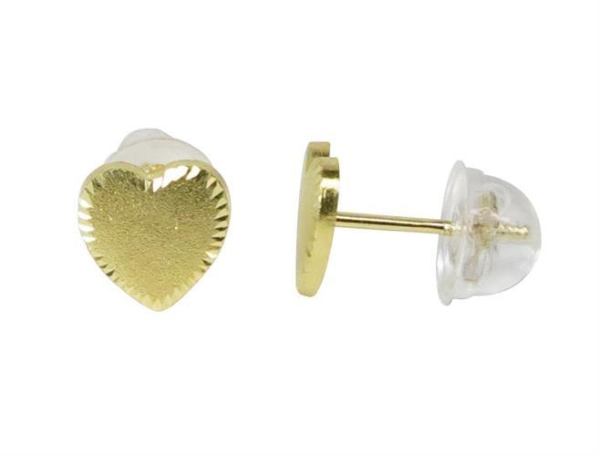 עגילי ילדות לב מעוצב עשוי בזהב 14K