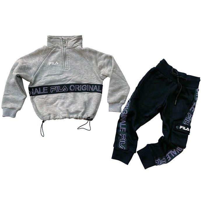 חליפת קרופ טופ עם גומי אפורה FILA בנות - מידות 2-8