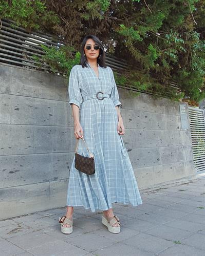 שמלת ולנסיה - אפור משבצות