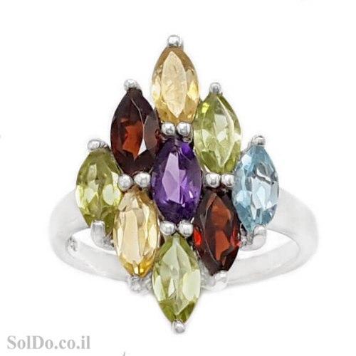 טבעת מכסף משובצת אבני חן RG6287 | תכשיטי כסף 925 | טבעות כסף