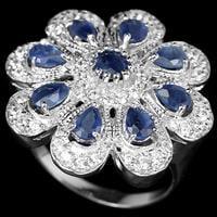 טבעת כסף משובצת אבני ספיר כחול וזרקונים RG7042   תכשיטי כסף 925   טבעת כסף