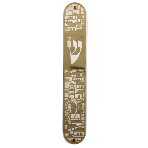 """מזוזה פרספקס 12 ס""""מ עם פלקטה זהב """"ירושלים"""""""