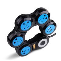 מפצל שקעים מתכוונן - כולל 2 שקעי USB מובנים