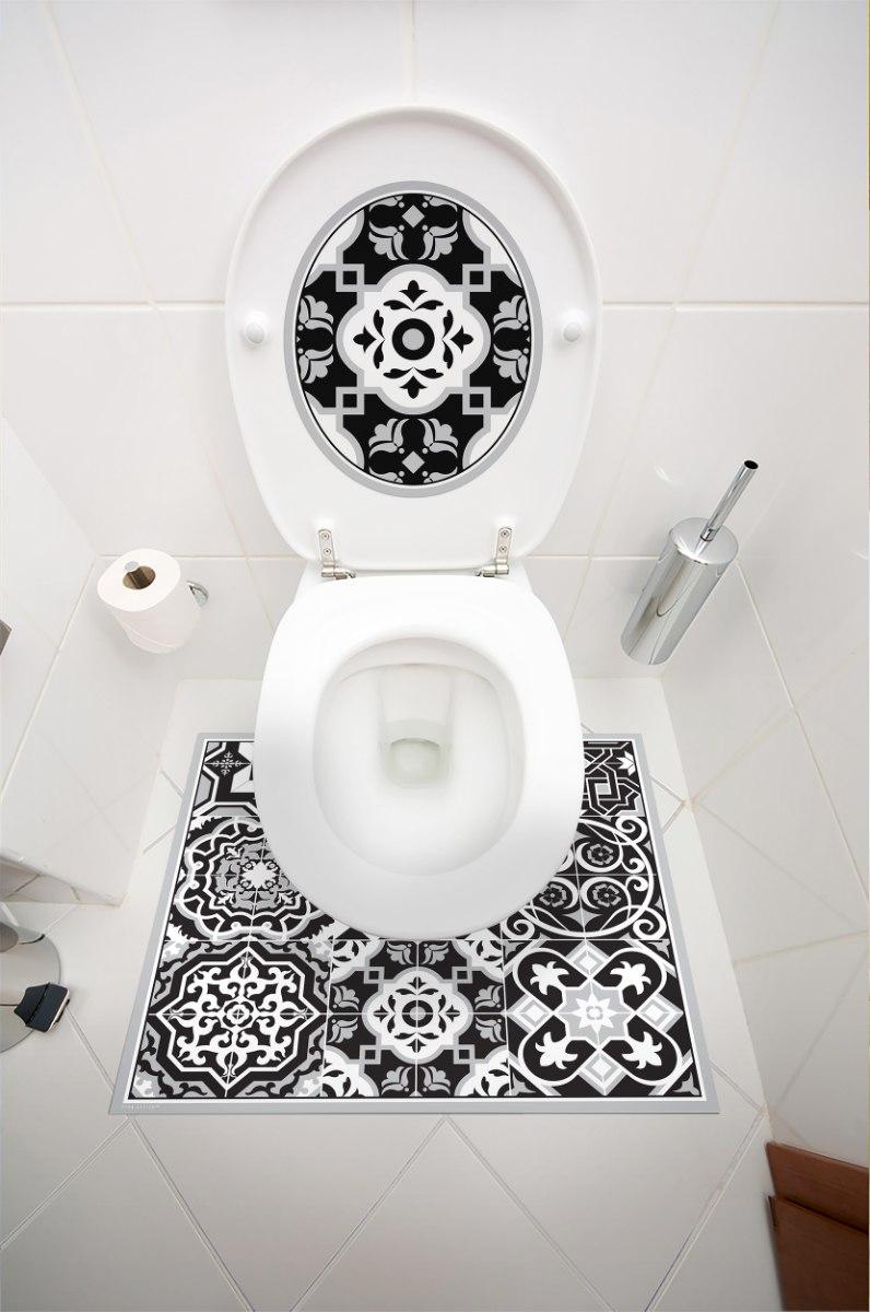 שטיחון ומדבקה לאסלה אקלקטי שחור לבן דגם 272