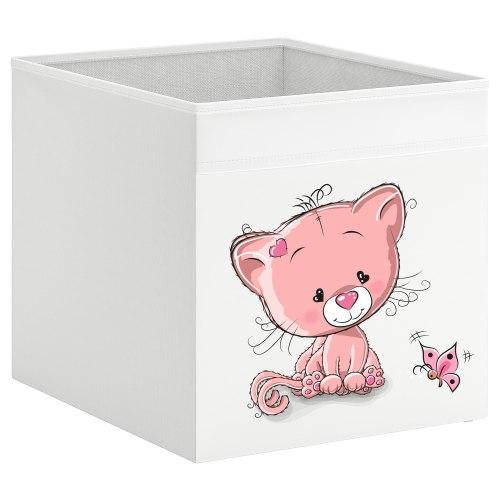קופסת אחסון לכוורת עם הדפס- חתולה ורודה