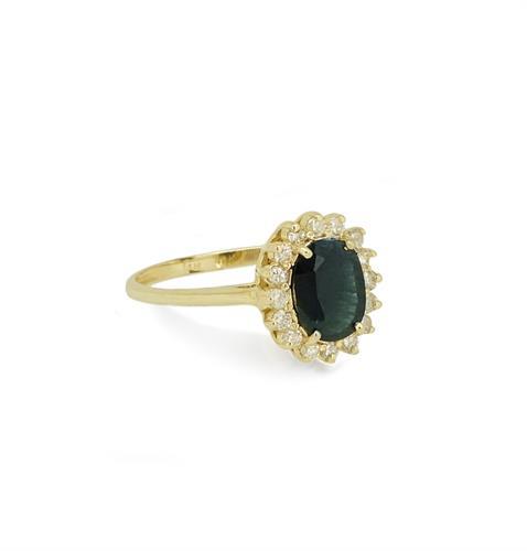 """טבעת זהב 14 קרט """"דיאנה"""" משובצת אבן חן ספיר טבעית ויהלומים  0.28 קראט"""