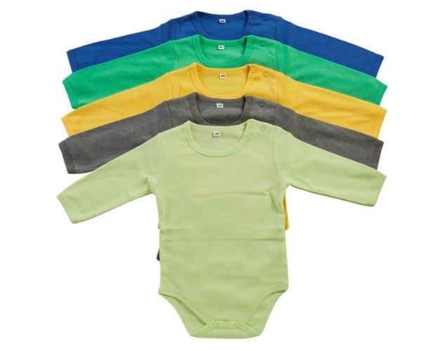 מארז 5 בגדי גוף כחול רויאל-ירוק-צהוב-אפור כהה-ירוק בהיר
