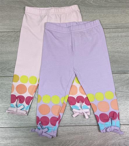 זוג מכנסי לייקרה ארוך נקודות ופפיון ורוד בייבי וסגול לילך