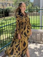 שמלת שיפון דולצ'ה שחור זהב