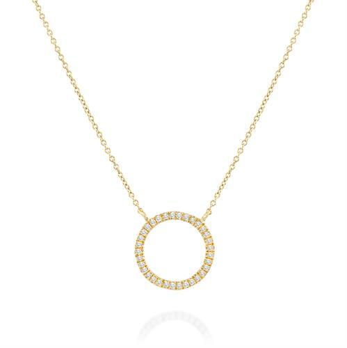 שרשרת ותליון מעגל הקסם משובץ יהלומים בזהב צהוב או לבן 14 קראט