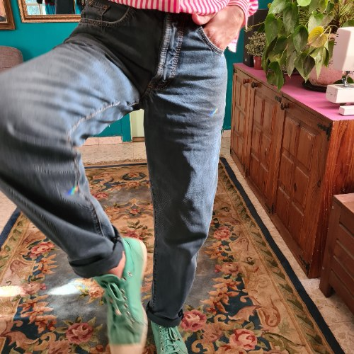 ג'ינס צבוע כחול מידה L