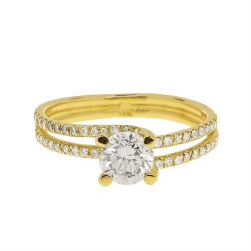 טבעת זהב 14 קרט שתי שורות משובצת יהלומים 1.29 קראט