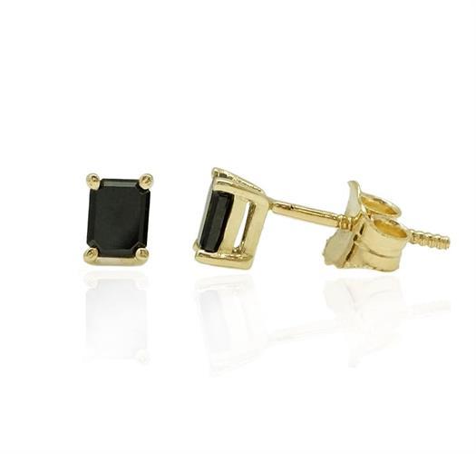 עגילי זהב עם יהלומים שחורים  מלבן 0.60 קראט