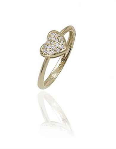 טבעת לב יהלומים נוצצת לילדה או נערה  מזהב 14 קרט