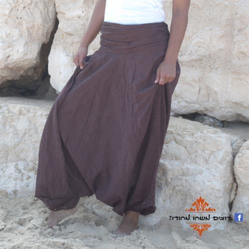 מכנסי אלאדין כותנה נפאלית חום