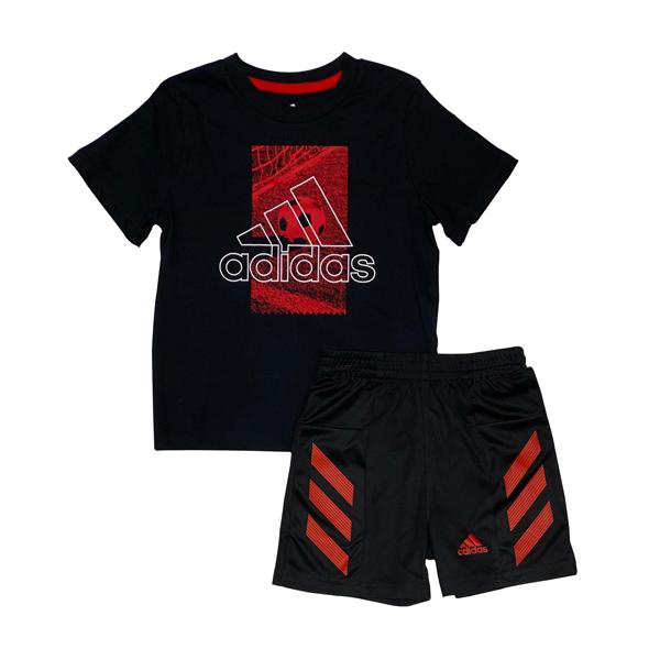 חליפת ספורט ADIDAS - אדום שחור לוגו גדול
