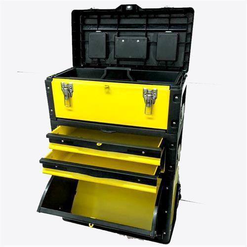 ארגז כלים על גלגלים - טרולי - ארגז כלים 3 חלקים עם מגירות מוסך ממתכת