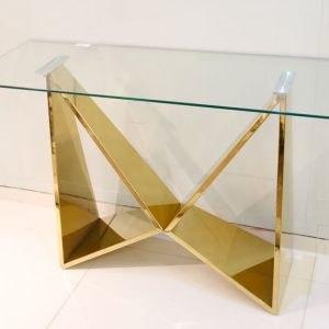 קונוסולה נירוסטה זהב /כסף  זכוכית שקופה מידות: 120X40X78