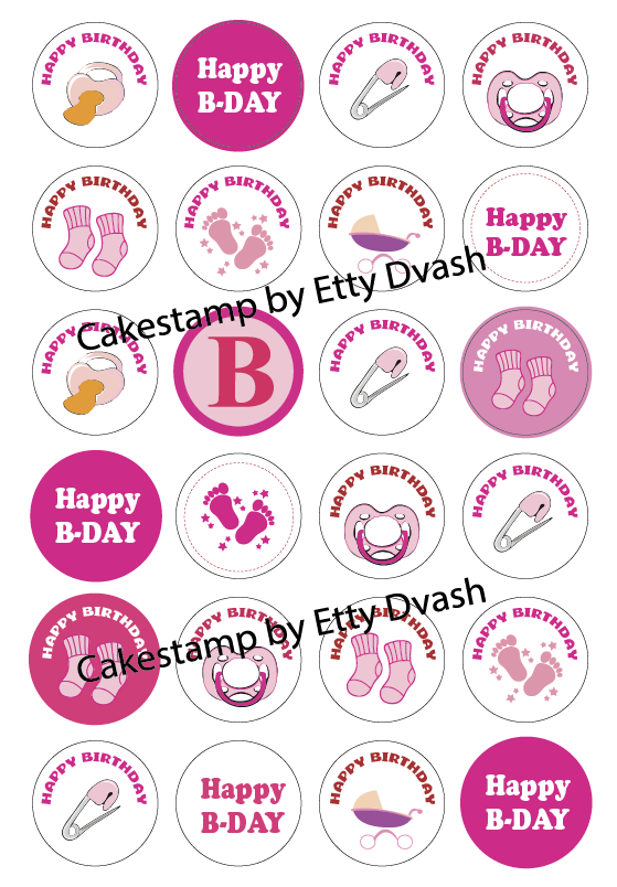 Baby girl set to 4 cm round stencil mat Transfer sheet