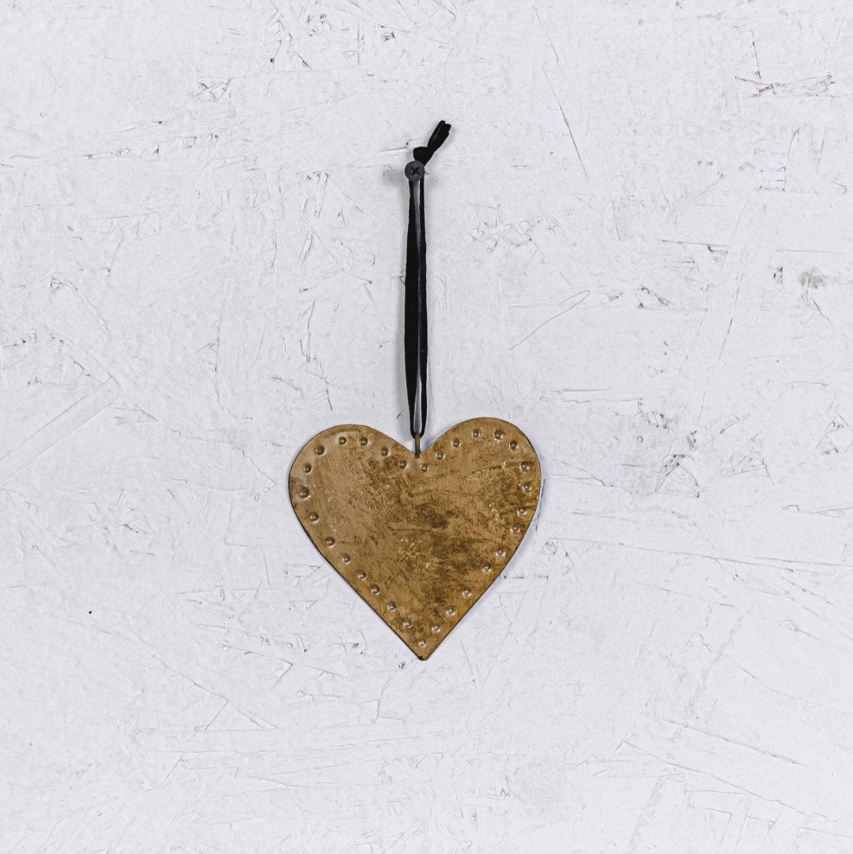 לב שטוח ממתכת - זהב חלודה (גודל S)