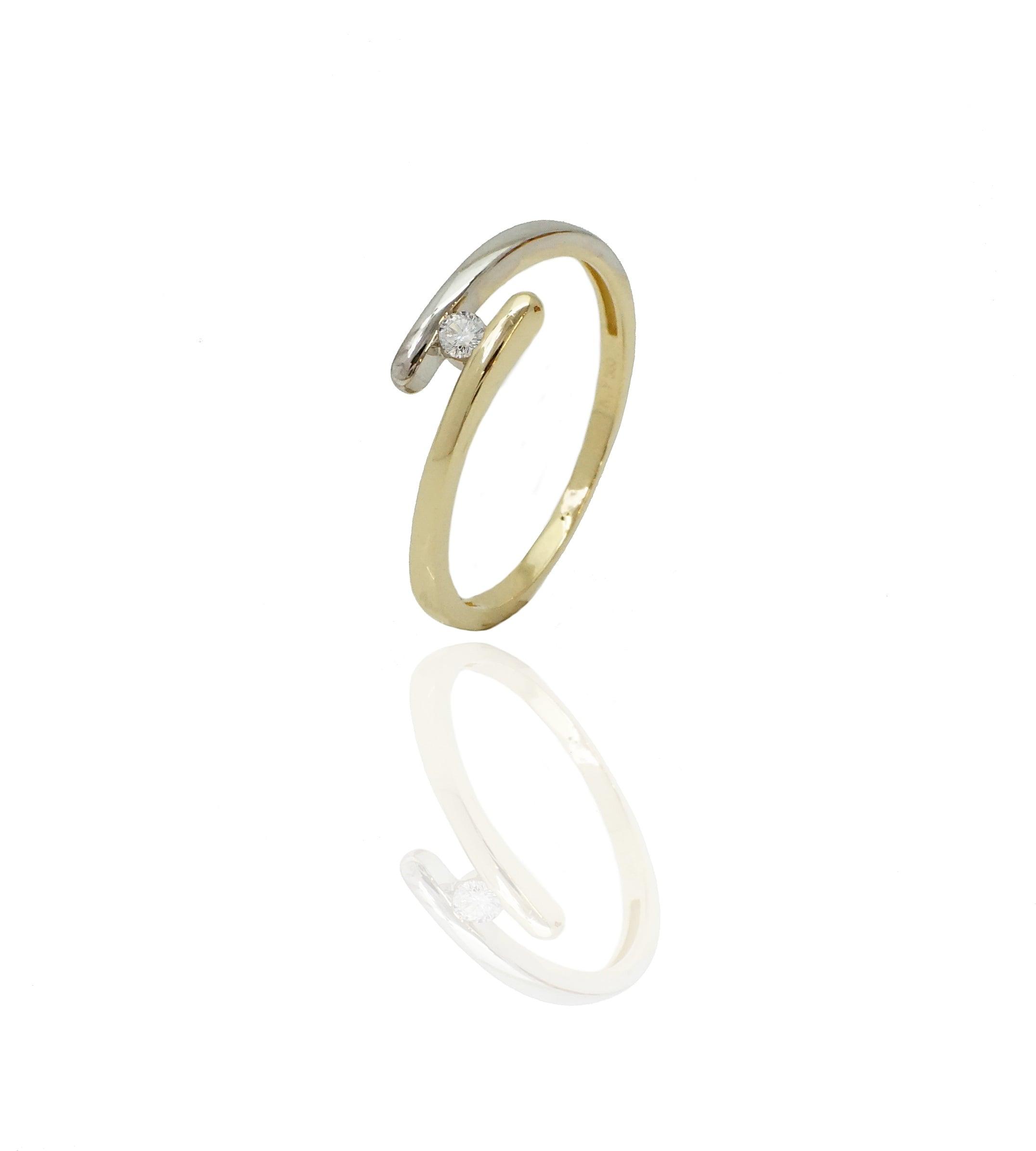טבעת זהב צהוב ולבן עם זרקון 14 קאראט